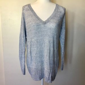 Eileen Fisher Blue V-Neck Linen Sweater - S